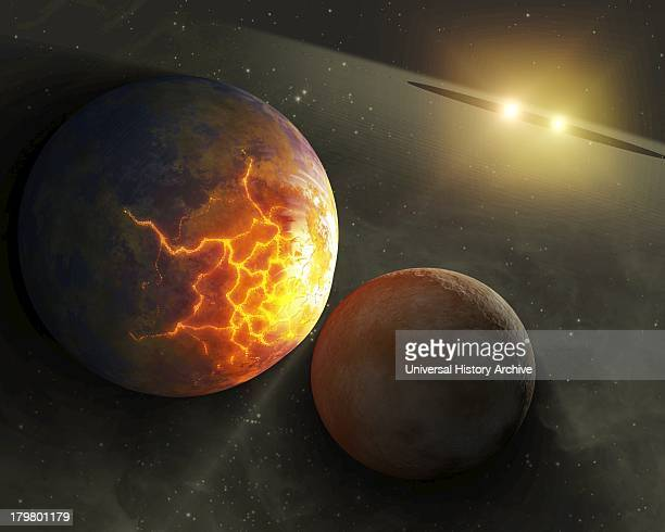 This artist's concept illustrates an imminent planetary collision around a pair of double stars