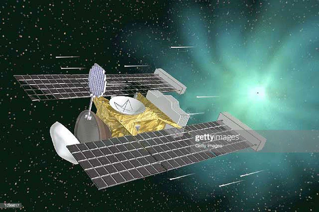 This artist's rendering shows NASA's Stardust spacecraft on a mission to collect and return the first samples of dust from a comet For now the craft...