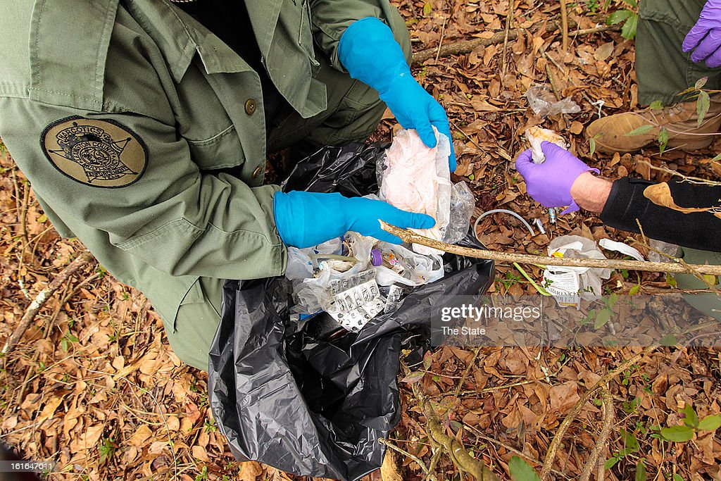 This bag of discarded waste that was used to produce methamphetamine was found by the Lexington County Multi-Agency Narcotics Enforcement Team (NET) when they conducted a surprise operation, February 4, 2013, at multiple locations where they received information that clandestine methamphetamine laboratories were being operated in Columbia, South Carolina.