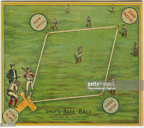 This board for an early board and dice baseball game called 'The Game of Ship's Base Ball' was issued in 1912 in Toronto Ontario Canada