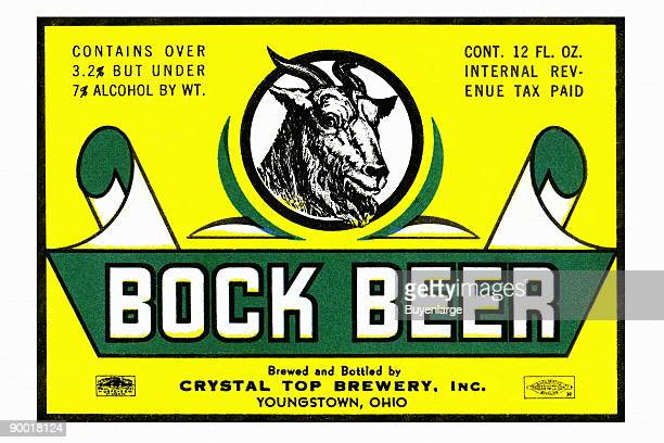This Bock Beer was brewed by the Crystal Top Brewery in Youngstown Ohio This original postprohibition beer label featured the obligatory head of a...