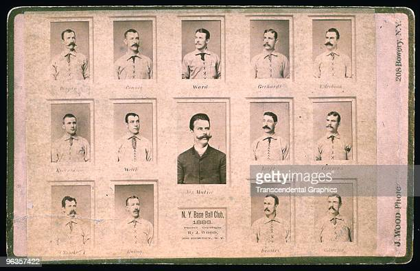 This cabinet card photo of the 1886 New York Giants shows what a powerhouse they are The team includes John Ward Jim O'Rourke Mickey Welch and Roger...