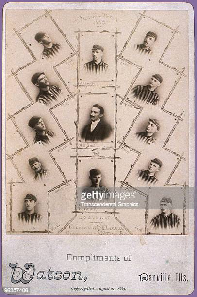 This cabinet card photograph consists of a collage of all players on the Danville Illinois baseball club champions of the Indiana Illinois League in...