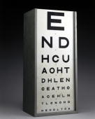 This chart with rear illumination is for testing visual acuity The board displays letters decreasing in size and increasing in number