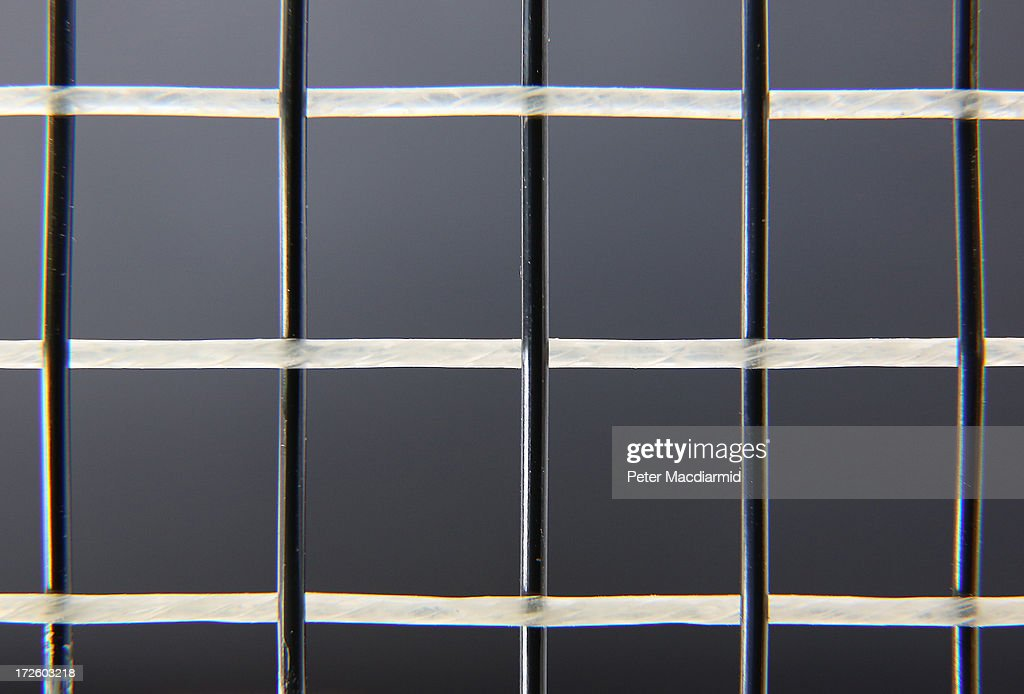 This close up photograph shows horizontal gut strings woven together with man made strings on a tennis racket at the Wimbledon Lawn Tennis Championships on July 2, 2013 in London, England.