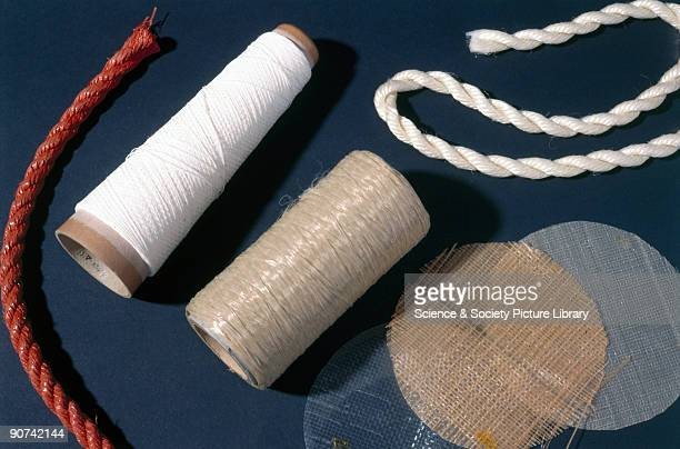 This collection of polypropylene fibres includes two spools two pieces of rope and two circular flat samples of fibre Polypropylene is a...