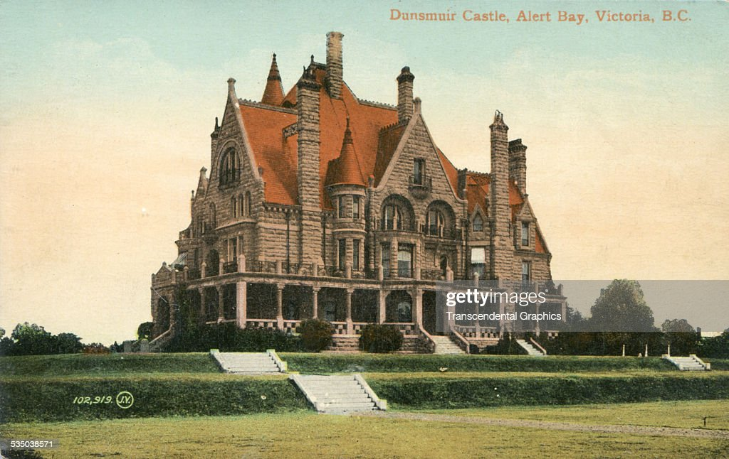 This colored photo postcard shows the architectural wonder the Dunsmuir Castle in Victoria British Columbia Canada from about 1910
