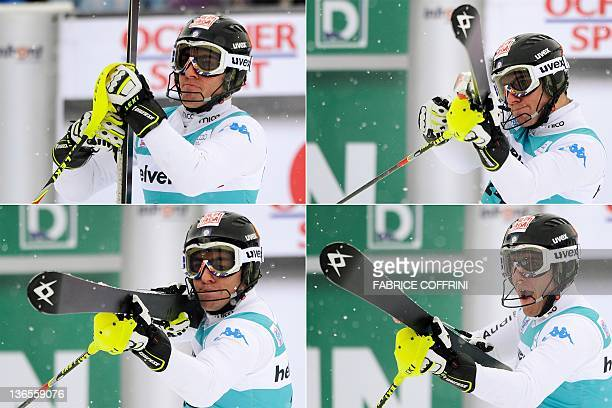 This combinaison of four pictures shows third placed Stefano Gross of Italy pretenting to use his ski as a rifle in the finish area of the men's...