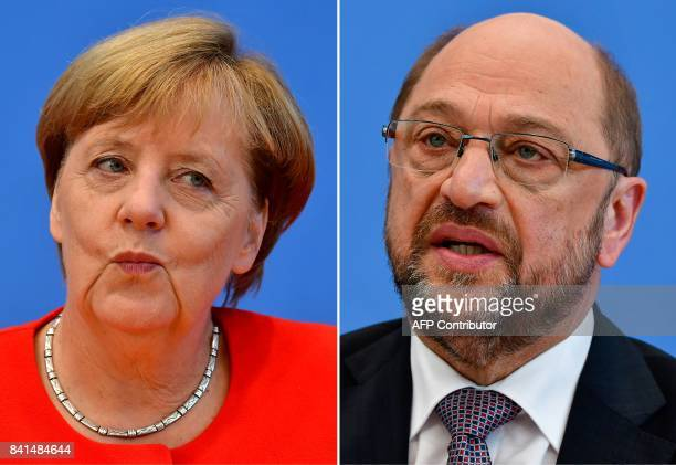 This combination created on September 1 2017 of file pictures shows German Chancellor Angela Merkel also leader of the conservative Christian...