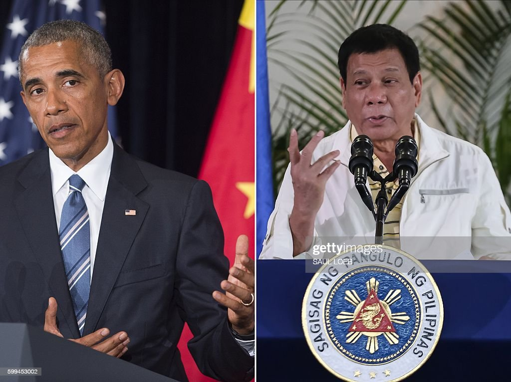 This combination image of two photographs taken on September 5, 2016 shows, at left, US President Barack Obama speaking during a press conference following the conclusion of the G20 summit in Hangzhou, China, and at right, Philippine President Rodrigo Duterte speaking during a press conference in Davao City, the Philippines, prior to his departure for Laos to attend the ASEAN summit. US President Barack Obama on September 5 called a planned meeting with Rodrigo Duterte into question after the Philippine leader launched a foul-mouthed tirade against him. / AFP / Saul LOEB
