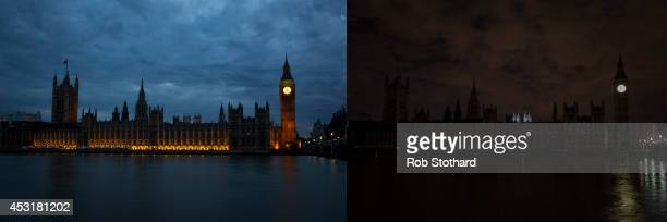 This combination image shows the Houses of Parliament illuminated as normal and after the lights are turned off along with other iconic buildings...