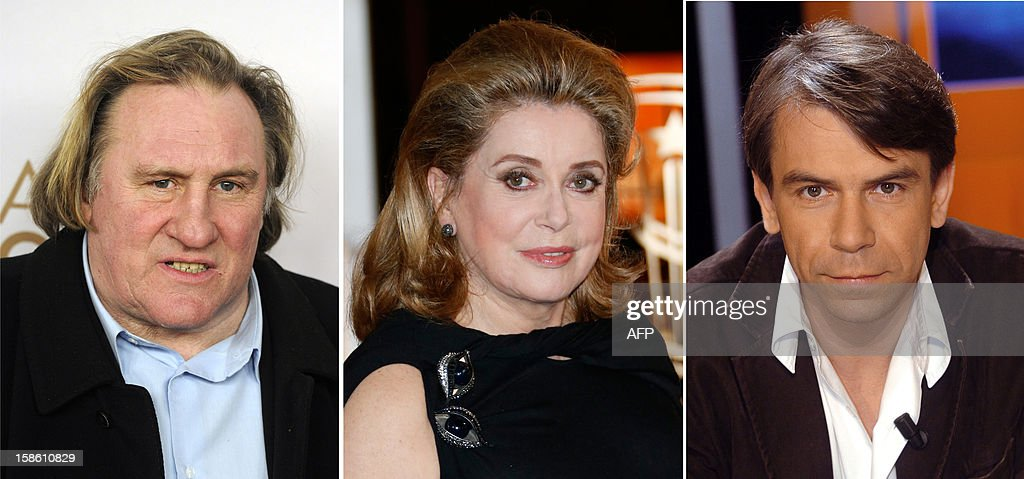 This combination made on December 21, 2012 shows (FromL) a picture taken on December 1, 2010 showing French actor Gerard Depardieu, a picture taken on December 01, 2012, in Marrakech showing French actress Catherine Deneuve and a picture taken on March 2004 in Paris showing French actor French actor Philippe Torreton. Depardieu's move to Belgium has been derided as 'pathetic' by Prime Minister Jean-Marc Ayrault while another top French actor , Philippe Torreton, publicly accused him of sulking like a playground creep. Deneuve wrote publicly her anger against Torreton on December 21, 2012.
