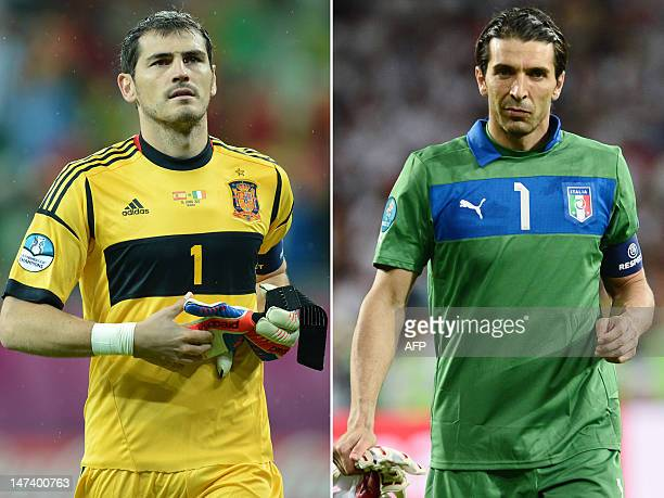 This combination made on June 29 2012 of two recent pictures shows Spanish goalkeeper Iker Casillas and Italian goalkeeper Gianluigi Buffon Italy and...