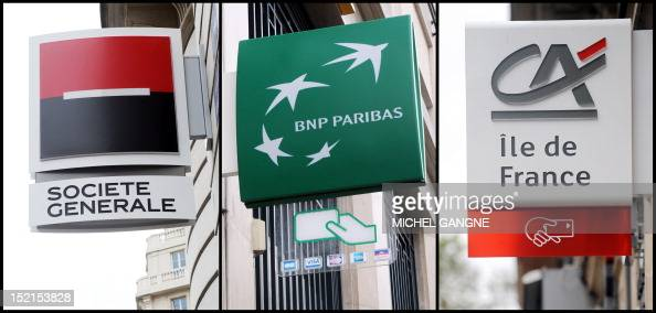 This combination made on September 12 2011 in Paris shows logos of the French banks Societe Generale BNP Paribas and Credit Agricole The French stock...