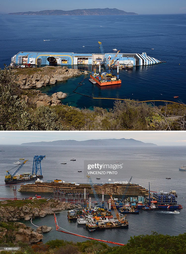 This combination made on September 17, 2013 shows a file picture taken on June 23, 2012 showing the Costa Concordia near the harbour of Giglio Porto (top) and a picture of the Concordia after being pulled upright (down) in the biggest ever project of its kind on September 17, 2013. Thirty-two people died when the ship, with 4,200 passengers onboard, hit rocks and ran aground off the island of Giglio on January 2012. The Costa Concordia cruise ship wreck was turned upright on September 17, 2013 off the Italian island of Giglio in the biggest ever salvage operation of a passenger ship, officials said. 'The parbuckling operation has been completed. We have reached zero degrees (vertical),' said Franco Gabrielli, the head of the civil protection agency which has overseen the project.