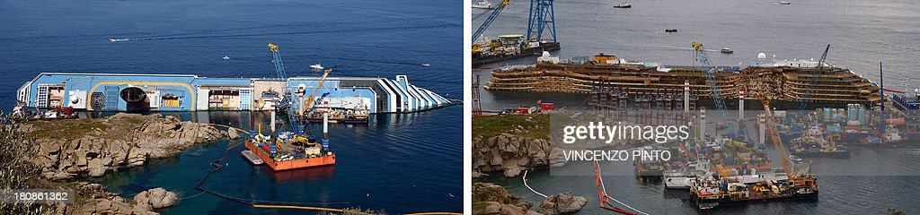 This combination made on September 17, 2013 shows a file picture taken on June 23, 2012 showing the Costa Concordia near the harbour of Giglio Porto (R) and a picture of the Concordia after being pulled upright in the biggest ever project of its kind on September 17, 2013. Thirty-two people died when the ship, with 4,200 passengers onboard, hit rocks and ran aground off the island of Giglio on January 2012. The Costa Concordia cruise ship wreck was turned upright on September 17, 2013 off the Italian island of Giglio in the biggest ever salvage operation of a passenger ship, officials said. 'The parbuckling operation has been completed. We have reached zero degrees (vertical),' said Franco Gabrielli, the head of the civil protection agency which has overseen the project. AFP PHOTO/ VINCENZO PINTO