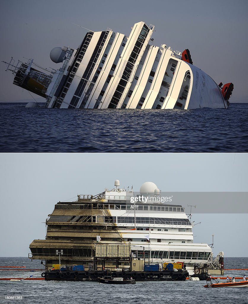 This combination made on September 17, 2013 shows a file picture taken on January 14, 2012, showing the Costa Concordia (up) and a picture taken on September 17, 2013 showing the wreckage of Italy's Costa Concordia after the cruise ship ran aground and keeled over off the Isola del Giglio. The Costa Concordia cruise ship wreck was turned upright on September 17, 2013 off the Italian island of Giglio in the biggest ever salvage operation of a passenger ship, officials said. 'The parbuckling operation has been completed. We have reached zero degrees (vertical),' said Franco Gabrielli, the head of the civil protection agency which has overseen the project.