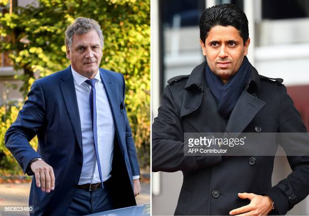 This combination of file images created on October 13 shows French former FIFA Secretary General Jerome Valcke as he arrives at the Court of...