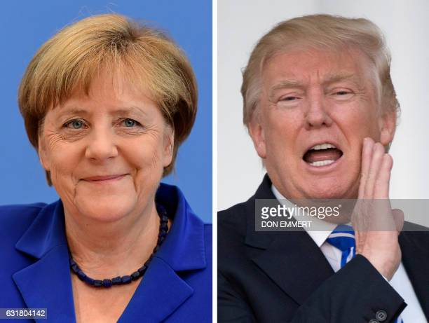 This combination of file photos created on January 16 2017 shows US Presidentelect Donald Trump and German Chancellor Angela Merkel Chancellor Angela...