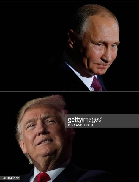 This combination of file photos created on January 16 2017 shows US Presidentelect Donald Trump and Russian President Vladimir Putin US...