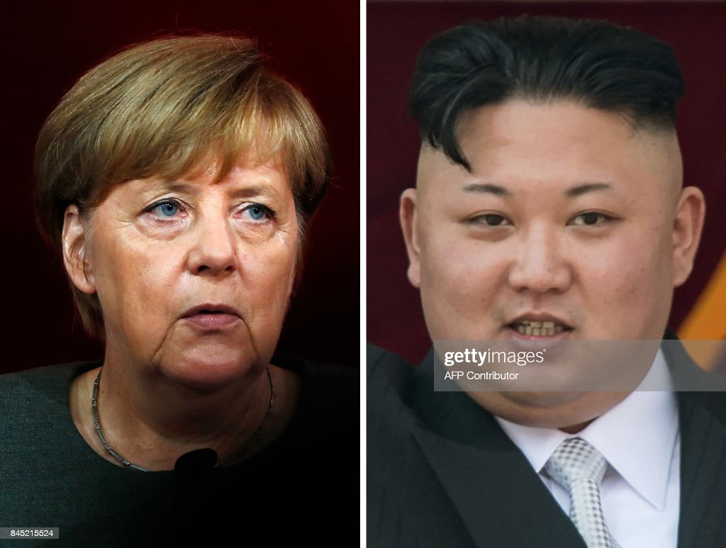 - This combination of file photos created on September 10, 2017 shows German Chancellor Angela Merkel (L, on August 18, 2017 in Berlin) and North Korean leader Kim Jong-Un (on April 15, 2017 in Pyongyang). Germany would lend its weight to a diplomatic push to end North Korean nuclear weapons and missile development along the lines of a past deal with Iran, Chancellor Angela Merkel said on September 10, 2017. / AFP PHOTO / Odd ANDERSEN AND Ed JONES