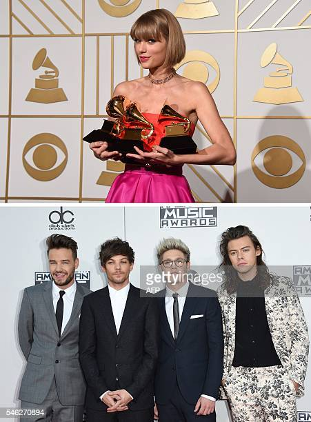 This combination of file photos shows singer Taylor Swifton February 15 2016 in the press room at the the 58th GRAMMY Awards and Liam Payne Louis...