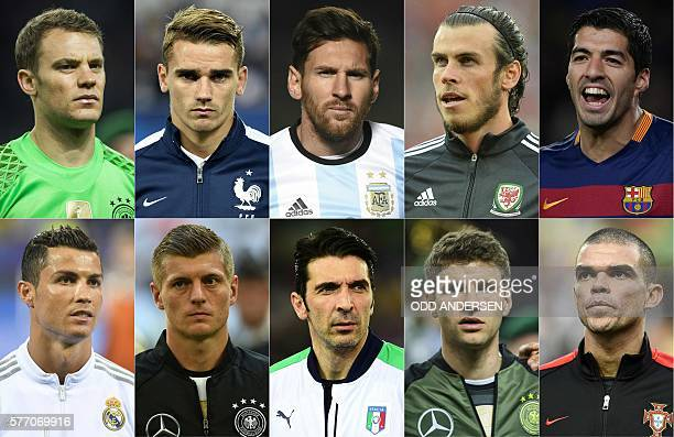 This combination of file pictures created on July 18 2016 shows Germany's goalkeeper Manuel Neuer France's forward Antoine Griezmann Argentina's...