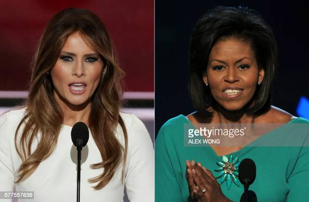 This combination of file pictures created on July 19 2016 shows Melania Trump wife of presumptive Republican presidential candidate Donald Trump...