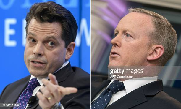 This combination of file pictures created on July 21 2017 shows former assistant to US President Donald Trump Anthony Scaramucci attending a meeting...