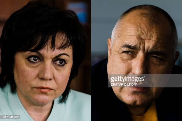 CORRECTION This combination of file pictures created on March 23 shows the leader of the Bulgarian Socialist party Kornelia Ninova and the leader of...