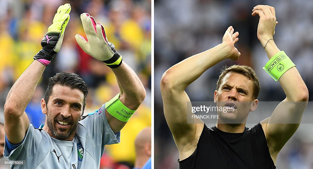 This combination of file pictures made on July 01, 2016 shows Italy's goalkeeper Gianluigi Buffon (L) at the Stadium Municipal in Toulouse on June 17, 2016 and Germany's goalkeeper Manuel Neuer (R) at the Stade de France stadium in Saint-Denis near Paris on June 16, 2016. Germany will face Italy in their Euro 2016 quarter-final football match in Bordeaux on July 2, 2016. / AFP / Franck FIFE AND Vincenzo PINTO