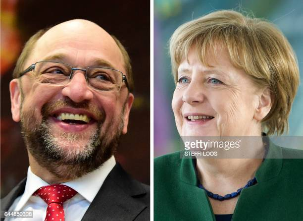 This combination of file pictures shows German Chancellor Angela Merkel and the German social democratic SPD party's candidate for chancellorship...