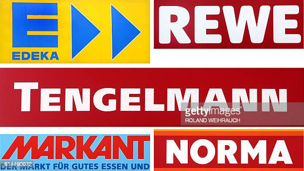 This combination of file pictures taken on October 11 2016 in Muelheim and Oberhausen shows the logos of German retail chains Edeka Rewe Tengelmann...