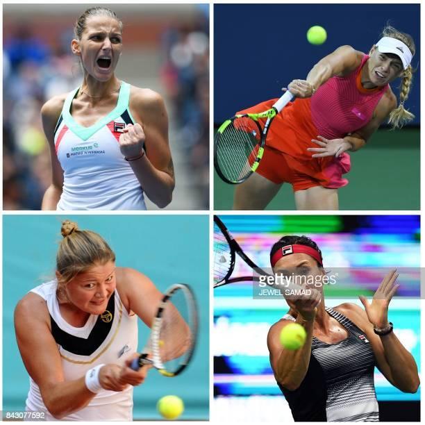 This combination of four AFP photos made on September 5 2017 in New York shows women tennis players Czech Republic's Karolina Pliskova Denmark's...