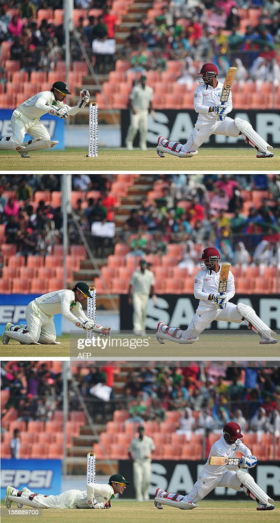 This combination of images shows Bangladesh cricket captain and wicketkeeper Mushfiqur Rahim (L) taking a catch to dismiss West Indies batsman Denesh Ramdin during the fourth day of the second cricket Test match between Bangladesh and The West Indies at The Sheikh Abu Naser Stadium in Khulna on November 24, 2012. AFP PHOTO/ Munir uz ZAMAN