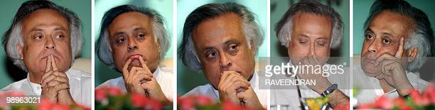 This combination of images shows Indian Minister of State for Environment and Forests Jairam Ramesh gesturing as he attends the Indian Network for...