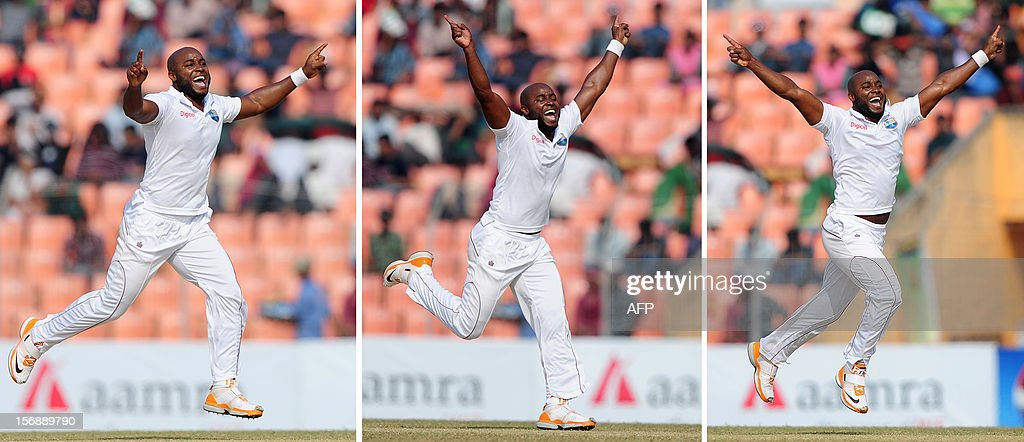 This combination of images shows West Indies cricketer Tino Best as he reacts after the dismissal of Bangladesh batsman Shahriar Nafees during the fourth day of the second cricket Test match between Bangladesh and The West Indies at The Sheikh Abu Naser Stadium in Khulna on November 24, 2012. AFP PHOTO/ Munir uz ZAMAN