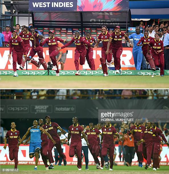 This combination of photographs created on April 3 shows the West Indies women's team and men's team as they run onto the field after victory in...
