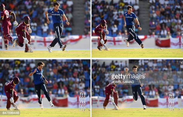 This combination of photos show England's bowler Steven Finn kicking the ball to hit the wicket to run out West Indies cricketer Jason Mohammed...
