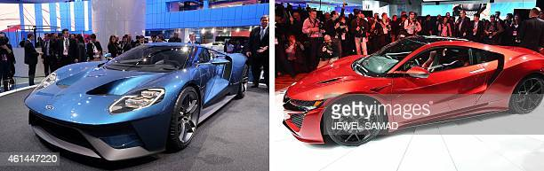 This combination of photos show the new Ford GT and Acura's NSX after being revealed at The North American International Auto Show in Detroit...