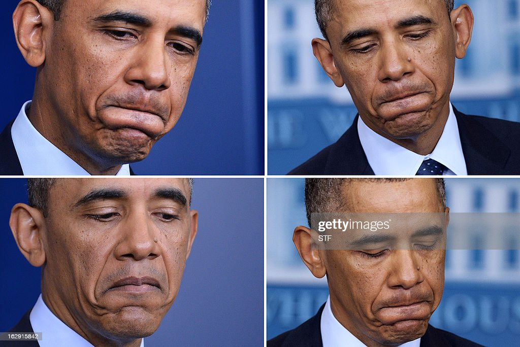 This combination of photos show US President <a gi-track='captionPersonalityLinkClicked' href=/galleries/search?phrase=Barack+Obama&family=editorial&specificpeople=203260 ng-click='$event.stopPropagation()'>Barack Obama</a> pausing as he answers questions about sequestration at the White House in Washington, DC, on March 1, 2013 following a meeting with US Speaker of the House John Boehner and Congressional leaders. Obama on Friday branded the automatic budget cuts about to slam into the US economy as 'dumb' and 'unnecessary' but blamed Republicans for the failure to avert them. 'These cuts will hurt our economy, will cost us jobs and to set it right both sides need to be able to compromise,' Obama said, on the day $85 billion in cuts go into force after lawmakers failed to reach a deficit-cutting deal. AFP PHOTO/Jewel Samad/Saul Loeb