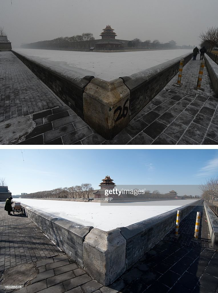 This combination of photos shows a file photo of Beijing's Forbidden City during heavily polluted weather (top) on January 31, 2013, and during clear weather (bottom) on February 1, 2013. Residents across huge swathes of northern China have in recent weeks battled through choking pollution at extreme levels, as Beijing was plunged into toxic twilight for the fourth time this winter. AFP PHOTO / FILES / Mark Ralston (top) / Ed Jones