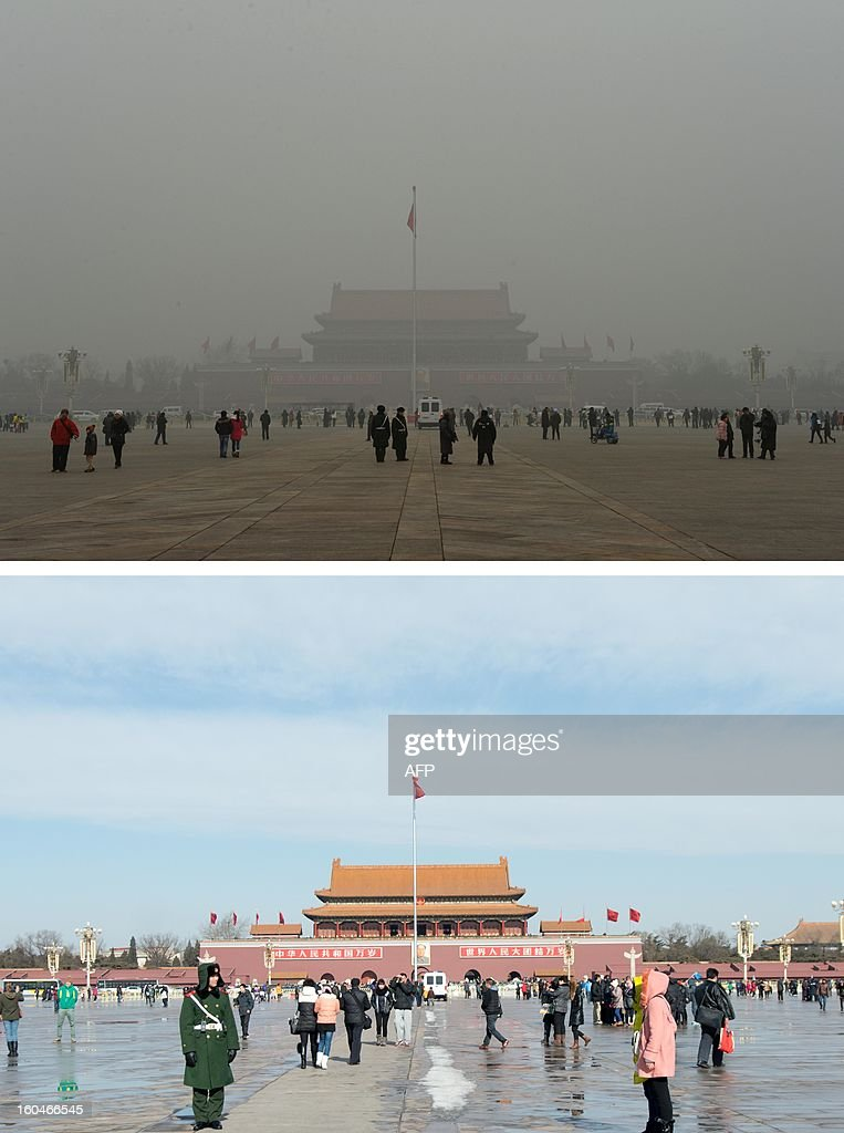 This combination of photos shows a file photo of Beijing's Tiananmen Square during heavily polluted weather (top) on January 31, 2013, and during clear weather (bottom) on February 1, 2013. Residents across huge swathes of northern China have in recent weeks battled through choking pollution at extreme levels, as Beijing was plunged into toxic twilight for the fourth time this winter. AFP PHOTO / FILES / Mark Ralston (top) / Ed Jones