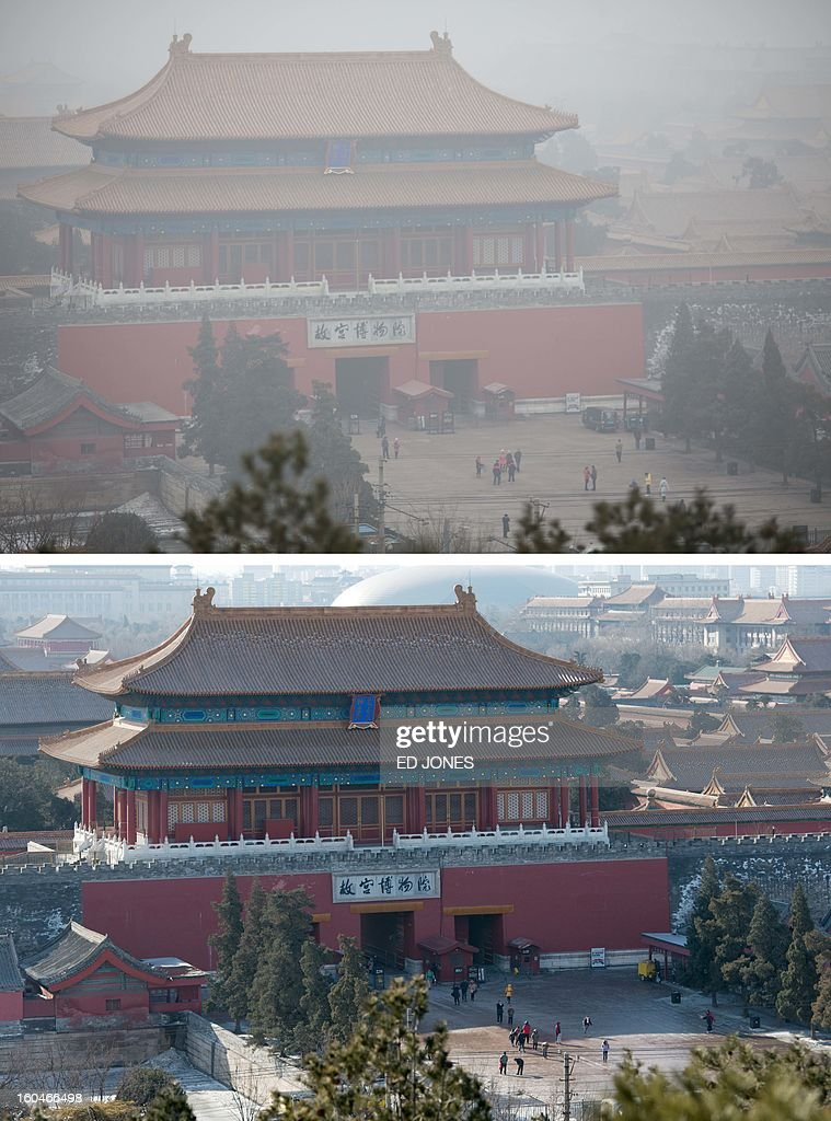 This combination of photos shows a file photo of the Forbidden City in Beijing from the historic Jingshan Park (top) during heavily polluted weather on January 30, 2013, and during clear weather (bottom) on February 1, 2013. Residents across huge swathes of northern China have in recent weeks battled through choking pollution at extreme levels, as Beijing was plunged into toxic twilight for the fourth time this winter. AFP PHOTO / FILES / Ed Jones