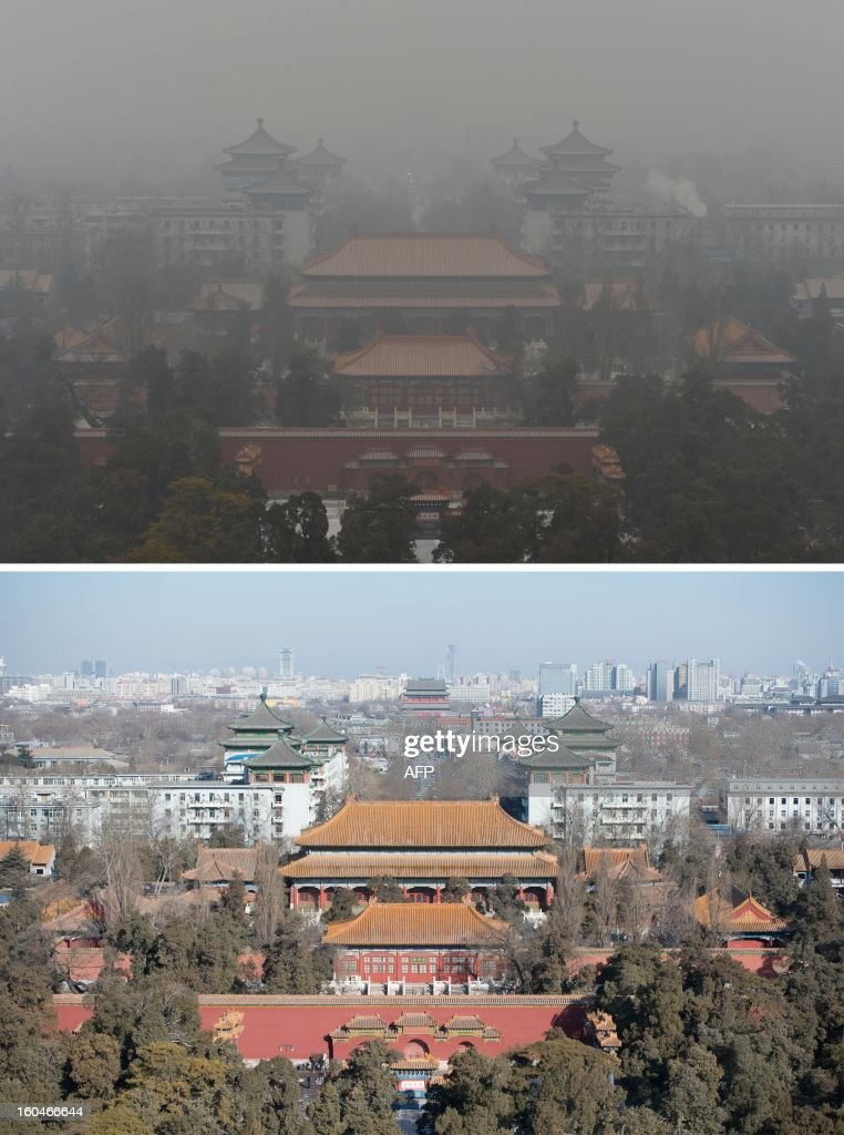This combination of photos shows a file photo of the Guotai Chambers building from the historic Jingshan Park (top) during heavily polluted weather on January 31, 2013, and during clear weather (bottom) on February 1, 2013. Residents across huge swathes of northern China have in recent weeks battled through choking pollution at extreme levels, as Beijing was plunged into toxic twilight for the fourth time this winter. AFP PHOTO / FILES / Mark Ralston (top) / Ed Jones