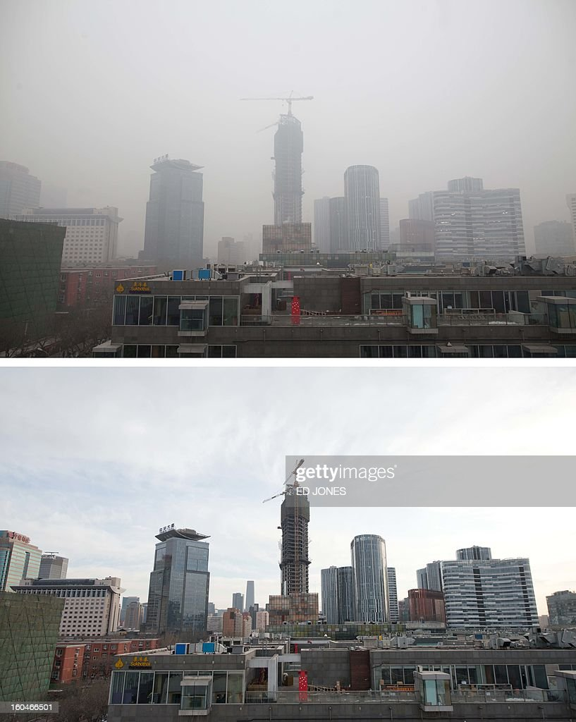 This combination of photos shows a section of the Beijing skyline (top) during heavily polluted weather on January 30, 2013, and during clear weather (bottom) on February 1, 2013. Residents across huge swathes of northern China have in recent weeks battled through choking pollution at extreme levels, as Beijing was plunged into toxic twilight for the fourth time this winter. AFP PHOTO / FILES / Ed Jones