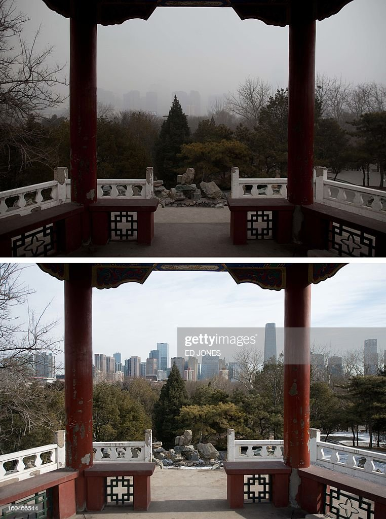 This combination of photos shows a section of the Beijing skyline (top) during heavily polluted weather on January 30, 2013, and during clear weather (bottom) on February 1, 2013. Residents across huge swathes of northern China have in recent weeks battled through choking pollution at extreme levels, as Beijing was plunged into toxic twilight for the fourth time this winter. AFP PHOTO / Ed Jones