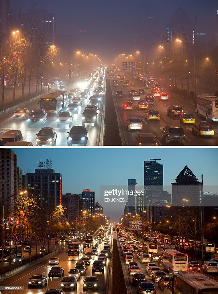 This combination of photos shows Beijing's second ring road during heavily polluted weather (top) on January 30, 2013, and during clear weather (bottom) on February 1, 2013. Residents across huge swathes of northern China have in recent weeks battled through choking pollution at extreme levels, as Beijing was plunged into toxic twilight for the fourth time this winter. AFP PHOTO / Ed Jones