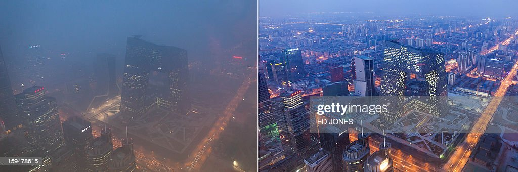This combination of photos shows (L) the Beijing skyline during severe pollution on January 14, 2013, and the same view (R) taken during clear weather on Febuary 4, 2012. Dense smog shrouded the city with pollution at hazardous levels for a fourth day and residents were advised to stay indoors. AFP PHOTO / Ed Jones