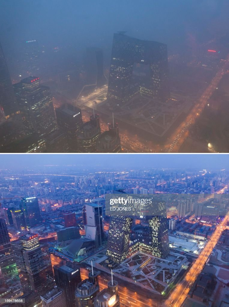 This combination of photos shows (top) the Beijing skyline during severe pollution on January 14, 2013, and the same view (bottom) taken during clear weather on February 4, 2012. Dense smog shrouded the city with pollution at hazardous levels for a fourth day and residents were advised to stay indoors. AFP PHOTO / Ed Jones